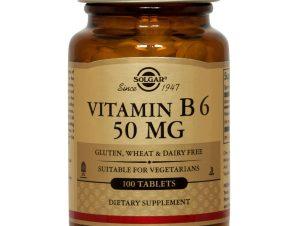 Vitamin B6 100tabs Solgar,Συμπλήρωμα Διατροφής για την Ομαλή Λειτουργία του Εγκεφάλου και του Νευρικού Συστήματος – 50mg/100tabs
