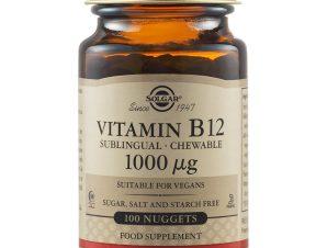 Solgar Vitamin B12 1000μg Συμπλήρωμα Διατροφής για την Καλή Λειτουργία του Νευρικού Συστήματος 100Chewable Nuggets