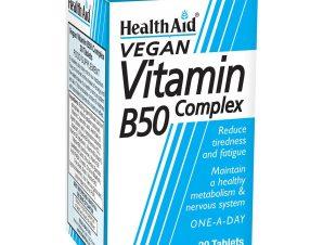 Health Aid Vitamin B50 Complex 30tabs,Συμπλήρωμα Διατροφής για Υγιές Νευρικό Σύστημα