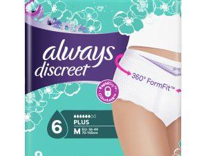 Always Discreet Pants Plus Medium Υπεραπορροφητικό Εσώρουχο Ακράτειας, Απορροφά Ακόμα & τις Βαρύτερες Διαρροές 9 Τεμάχια