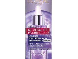 L'oreal Paris Revitalift Filler Dropper Αντιρυτιδικός Ορός Προσώπου Λαιμού Εμπλουτισμένος με Καθαρό Υαλουρονικό Οξύ 30ml