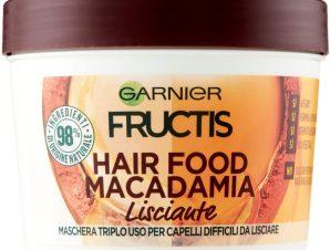 Garnier Fructis Hair Food Smoothing Mask Επανορθωτική Μάσκα Μαλλιών 3 σε 1 με Μακαντέμια για Ξηρά & Ατίθασα Μαλλιά 390ml