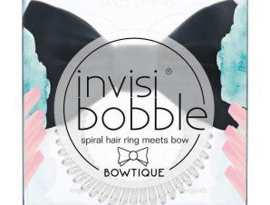 Invisibobble Slim Bowtique True Black Λαστιχάκι Μαλλιών με Μαύρο Φιόγκο για Κομψά και Διακριτικά Χτενίσματα 1 Τεμάχιο