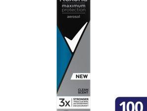 Rexona Men Maximum Protection Aerosol Clean Scent 96h Αντιιδρωτικό με Αποτέλεσματικότητα Έως και 96 Ώρες 100ml