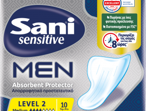 Sani Sensitive Men Absorbent Protector Level 2 Λεπτό και Διακριτικό Επίθεμα Ακράτειας για Άνδρες 10 Τεμάχια