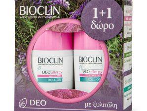 Bioclin Deo Allergy Roll on Αποσμητικό Σχεδιασμένο να Ελέγχει την Εφίδρωση σε Αλλεργικές & Αντιδραστικές Επιδερμίδες 2x50ml