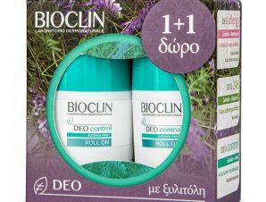 Bioclin Deo Control Roll on Αποσμητικό με Ευχάριστο Άρωμα, Ιδανικό για να Αντιμετωπίζει την Υπεριδρωσία 2x50ml