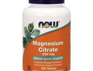 Now Foods Magnesium Citrate 200mg (Vegetarian) Συμπλήρωμα Διατροφής που Υποστηρίζει την Νευρομυική Λειτουργία 100tabs