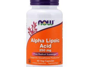 Now Foods Alpha Lipoic Acid 250mg Συμπλήρωμα Διατροφής, Πανίσχυρο Αντιοξειδωτικό, Αποτοξίνωση Βαρέων Μετάλλων 60 VegCaps