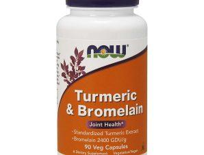 Now Foods Turmeric & Bromelain 2400 GDU 300mg / 150mg Συμπλήρωμα Διατροφής με Ισχυρές Αντιφλεγμονώδεις Ιδιότητες 90 VegCaps
