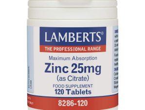 Lamberts Zinc Συμπλήρωμα Διατροφής με Ψευδάργυρο 25mg (as Citrate)120tabs