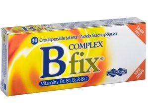 Uni-Pharma B Fix Complex Συμπλήρωμα Διατροφής για τις Ανάγκες του Οργανισμού στο Σύμπλεγμα Βιταμινών Β 30 Or.Disp.Tabs