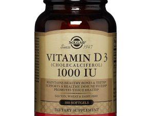 Solgar Vitamin D3 Συμπλήρωμα Διατροφής για την Ομαλή Απορρόφηση του Ασβεστίου απο τον Οργανισμό & την Ενίσχυση του Ανοσ/κου tabs – 1000 iu 100softgels