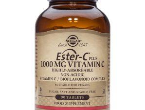 Solgar Ester-C 1000mg Συμπλήρωμα Διατροφής με μη Όξινη Μορφή Βιταμίνης C Tablets – 90 tabs