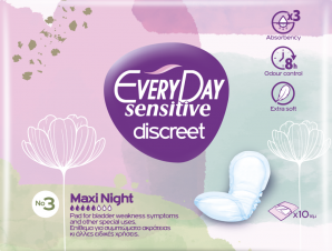 Every Day Sensitive Discreet No3 Maxi Night Σερβιέτες Ενισχυμένης Προστασίας 10 Τεμάχια