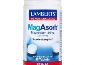 MagAsorb 150mg 60 tabs – Lamberts,Συμπλήρωμα Διατροφής για την Ανάπτυξη των Οστών & τη Σωστή Λειτουργία Νευρικού Συστήματος & Μυ