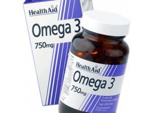 Health Aid Omega 3 Fish Oil 750 mg Ωμέγα 3 Λιπαρά οξέα 60κάψουλες
