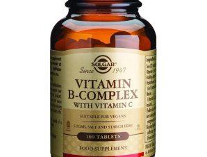 Solgar B-Complex With Vitamin C Συμπλήρωμα Διατροφής Χρήσιμο για την Αντιμετώπιση Καταστάσεων Στρές 100tablets