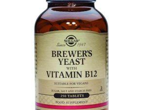 Solgar Brewer's Yeast With Vitamin B12 500mg Συμπλήρωμα Διατροφής, μια Υπερτροφή Μεγάλης Θρεπτικής Αξίας 250tabs